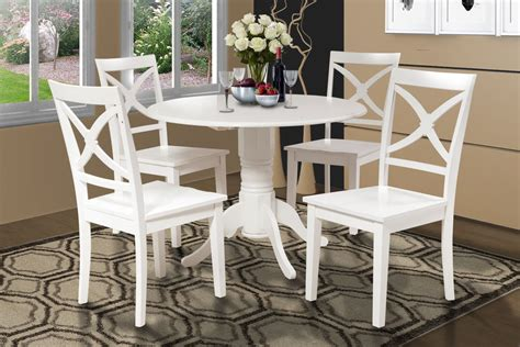 42 quot dinette kitchen dining room table set w 9 quot drop leaf in white finish ebay