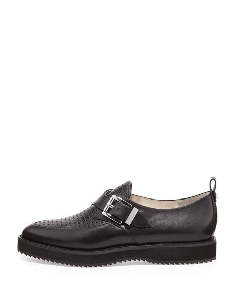 michael kors black loafers michael michael kors dakota perforated loafer in black lyst