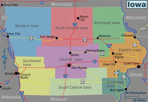 state of iowa map iowa travel guide at wikivoyage