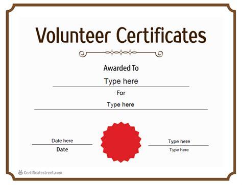 templates for volunteer certificates certificate street free award certificate templates no