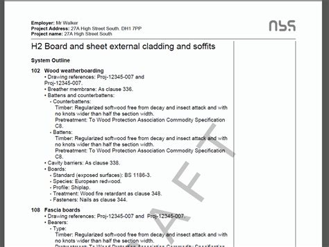 building specification template bim construction and nbs nbs for small domestic building