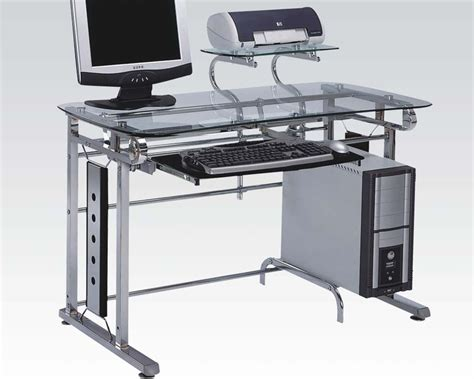Metal Computer Desk Acme Computer Desk In Silver Chrome Metal Ac92040