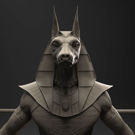 3d model sphinx anubis egyptian god cgtrader