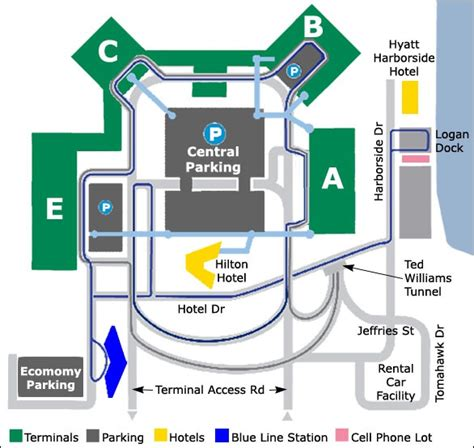 boston airport map logan airport map in boston m a the royal blue indicates the blue line station an airport