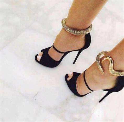 black gold shoes high heels shoes black shoes gold snake black high heels black