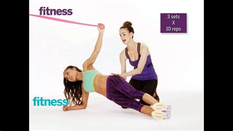 resistance bands exercise side plank pull  fitness
