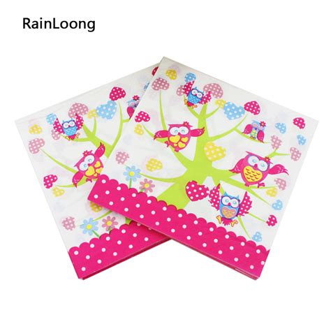 Tissue Napkin 33x40 3 aliexpress buy rainloong owl printed paper napkin event supplies character