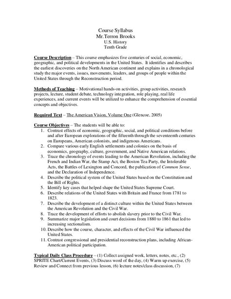 History Course Outline by 2012 Us History Course Syllabus