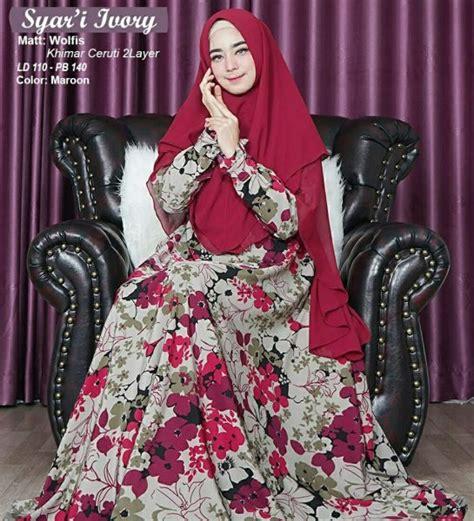Gamis Monalisa Umbrella gamis muslim syar i ivory model busana muslim motif