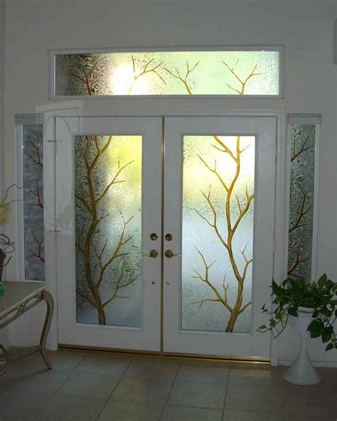 Decorative Windows For Houses Designs Decorative Etched Glass Entry Door Window Trees
