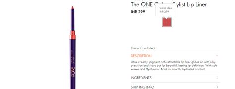 Colour Lip Liner Oriflame coral ideal lipliner the one colour stylist lip liner by
