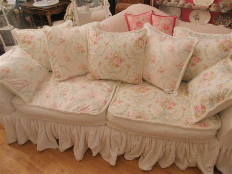 vintage chic furniture schenectady ny shabby chic slipcovered sofa with vintage chenille