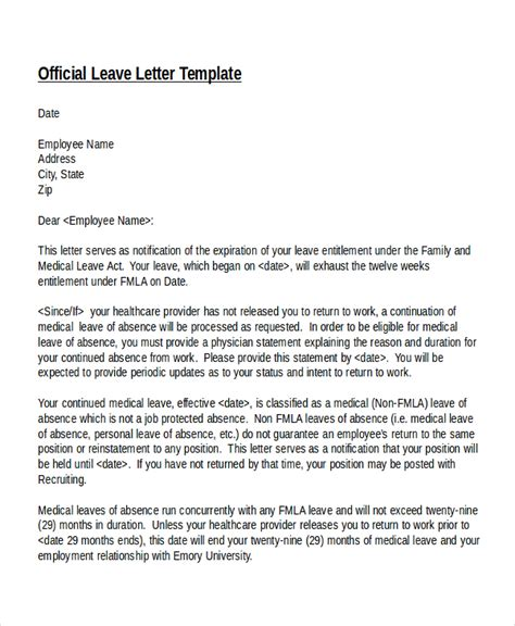 Official Leave Letter For Sick 12 leave letter templates free sle exle format