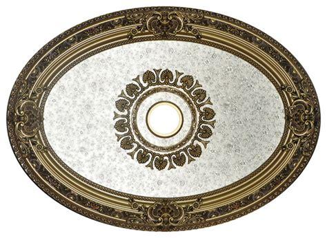 shimmer ceiling medallion antique gold frame oval
