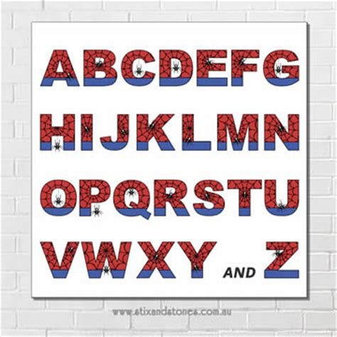Letter Home Decor by Stix And Stones Baby Spiderman Alphabet Canvas For Kids