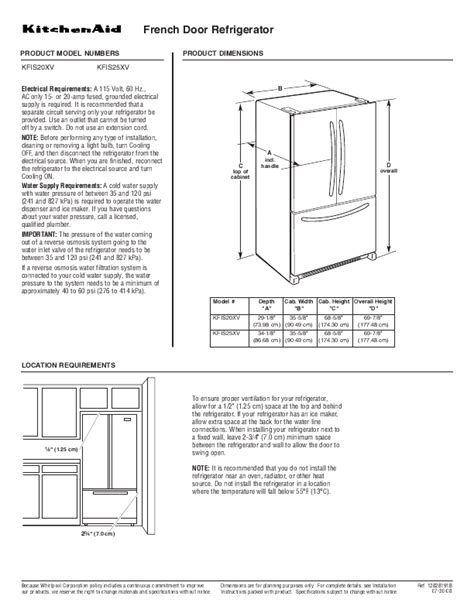 Kitchenaid Fridge User Manual Door Refrigerators Kitchenaid Door
