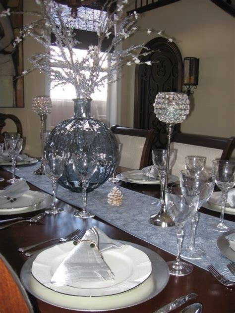 dining room table settings blue silver dining table decor christmas table setting