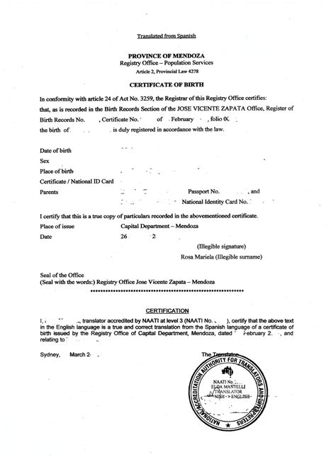 certificate translation template birth certificate translation template to