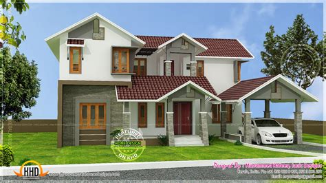 angled roof kerala sloping roof house home design and floor plans with