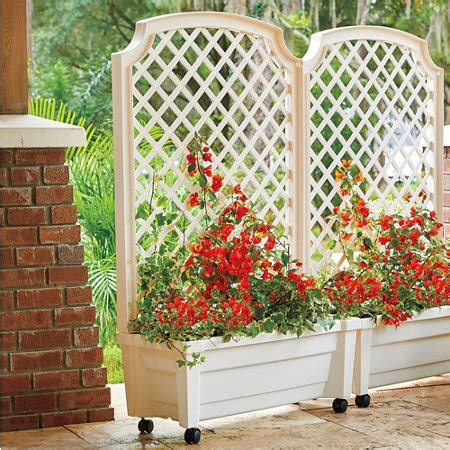 self watering patio planter with trellis
