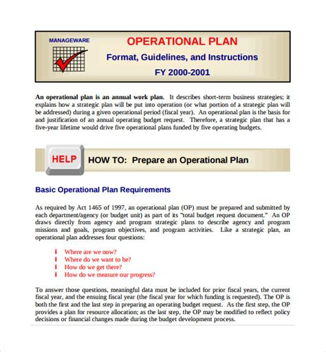 preparing a business plan template sle operational plan template 10 free documents in