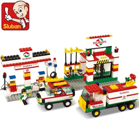 sluban lego city series gas petrol station building block toys childrens day educational toys gifts