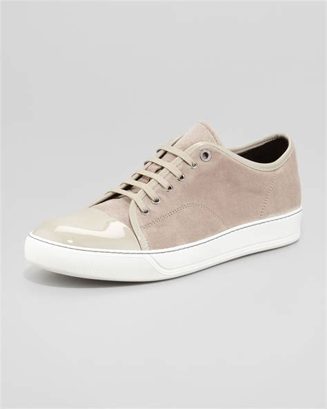 beige sneakers for lyst lanvin mens patenttoe suede sneaker beige in