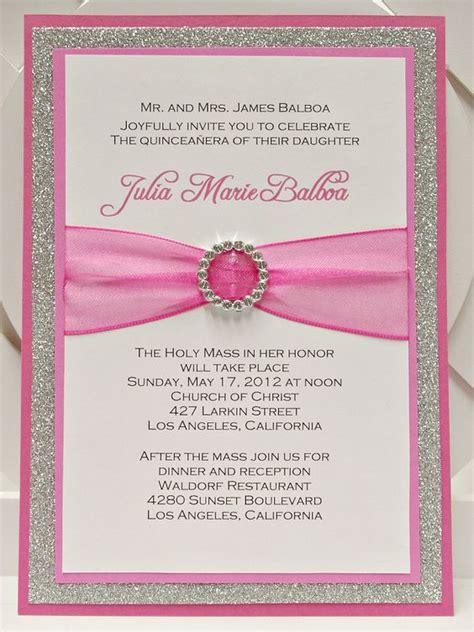 Handmade Sweet 16 Invitations - custom handmade pink silver glitter sweet sixteen 16