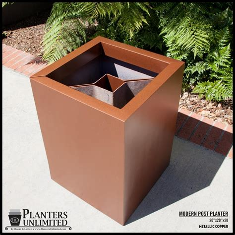 L Post Planter by Modern Square Fiberglass Post Planter 24in L X 24in W X 24in H