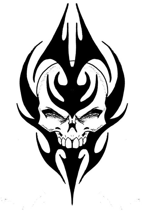 Skull Tribal By Biomek On Deviantart Skull Tribal Tattoos Designs