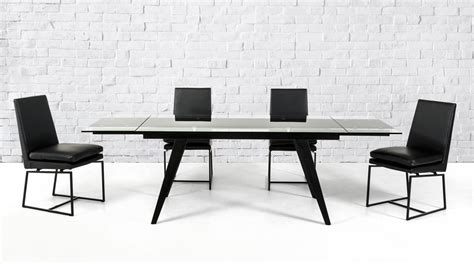 Dining Tables Black Glass Modrest Barium Contemporary Black Glass Extendable Dining Table