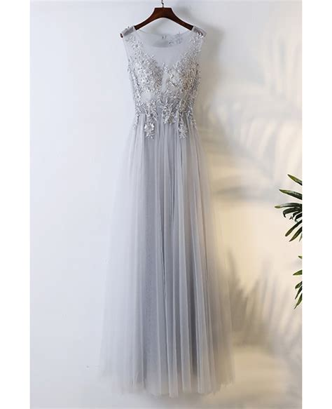 Flowy Grey by Flowy Grey Tulle Cheap Prom Dress With Lace