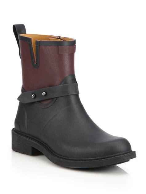 motorcycle rain boots rag bone moto rain boots in black lyst