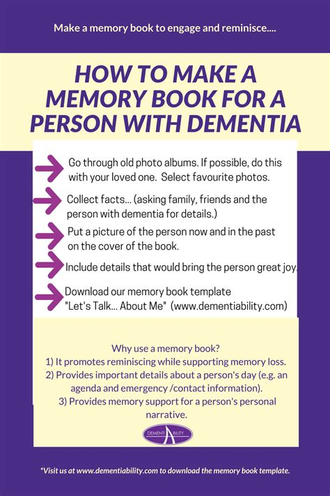 Dementiability Enterprises Inc Memory Book For Dementia Template