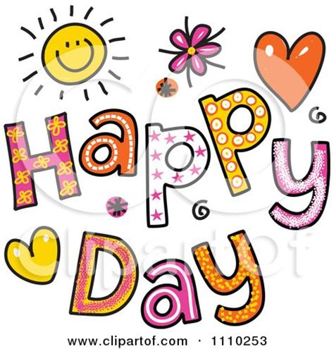 Happy Day Clip clipart colorful sketched happy day text royalty free
