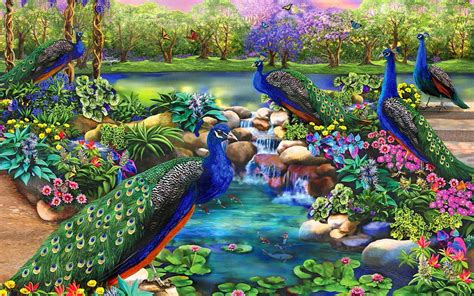 Real Home Decoration Games by Peacocks Amp Fantasy Garden Wallpapers Peacocks Amp Fantasy