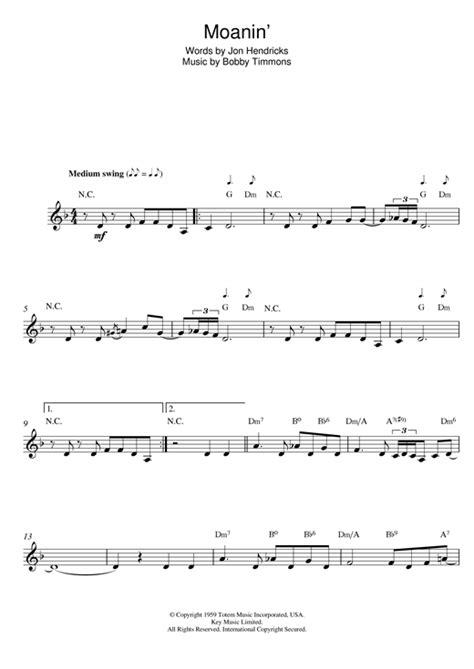 moanin chords by bobby timmons melody line lyrics