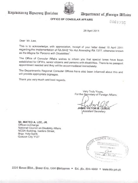 Philippine Embassy Authorization Letter Dfa Office Of Consular Affairs Implements Ra 9442 In All Their Offices National Council On