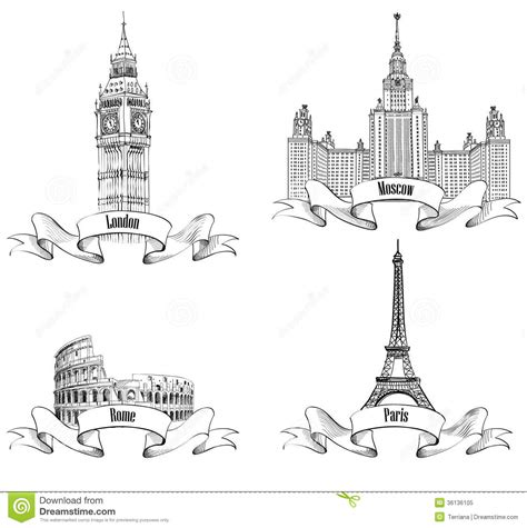 collection europ 233 enne de croquis de symboles de villes