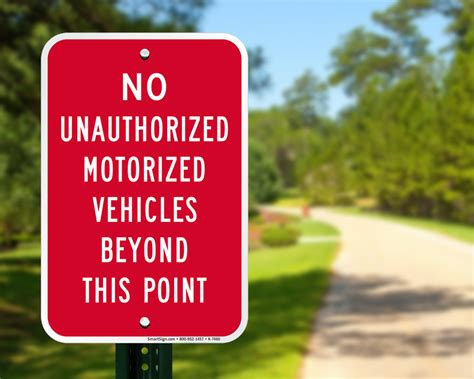 motorized vehicle no motorized vehicles signs prevent trespassing