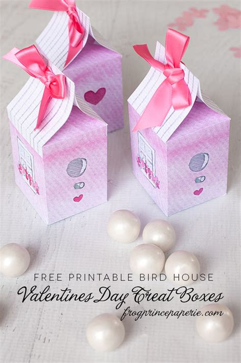 Tiny Guest House valentines day treat box free printable bird house box