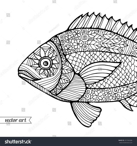 pattern drawing fish fish ornamental graphic fish floral line stock vector