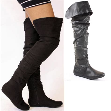 thigh high boots flat heel womens flat winter biker style heel knee thigh