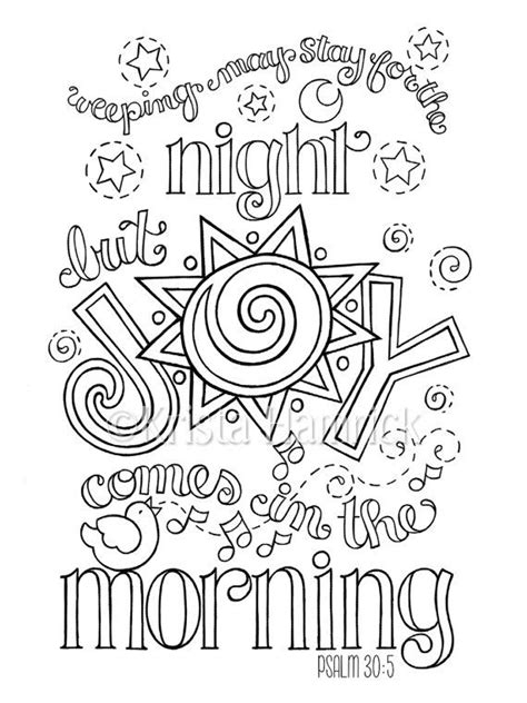 Joy Comes in the Morning coloring page in two by