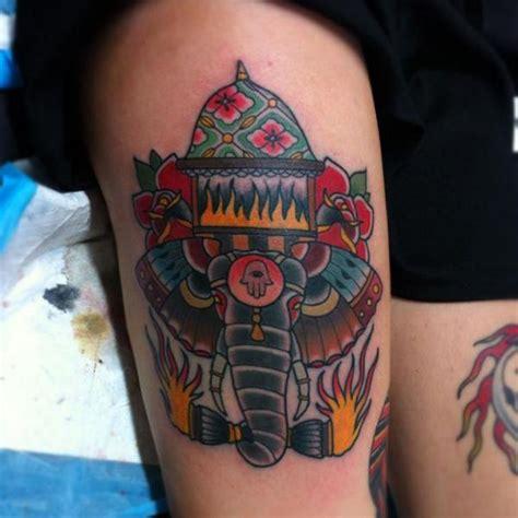 tattoo old school elephant tatuagem old school elefante coxa por dagger lark tattoo