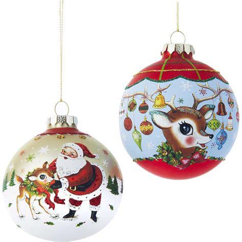 kurt adler ornaments kurt adler santa and deer ornament reviews wayfair