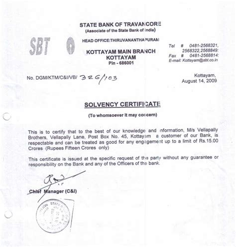 Solvency Certificate Letter To Bank Registration