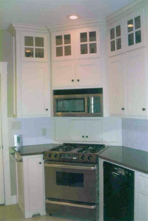 stove   corner glass upper cabinets home ideas