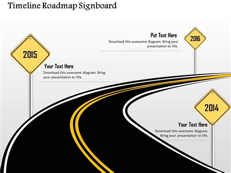 0914 Business Plan Timeline Roadmap Signboard Image Powerpoint Presentation Template Strategy Roadmap Ppt
