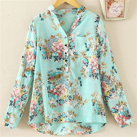 tropical blouse 2015 new office sleeve sheer chiffon blouse
